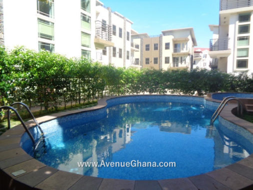 House for rent in Accra Ghana: An executive 3 (three) bedroom furnished townhouse with a shared swimming pool to let at Cantonments near the American Embassy
