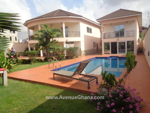 2 3 4 bedroom furnished house with 3 bed outhouse and swimming pool for sale at East Airport in Accra