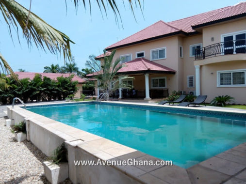 2 5 bedroom estate house with swimming pool for sale in Trasacco Valley in East Legon Accra, Ghana
